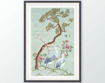 Chinoiserie print, Blue heron with flowers and tree wall art, Japanese painting, Gifts for her
