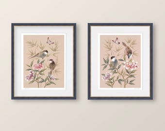 Chinoiserie prints, Birds and butterflies on Peonies, Set of two prints, Gifts for her