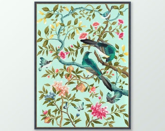 Chinoiserie print, Chinese painting, Vibrant floral and bird wall art, Gifts for her