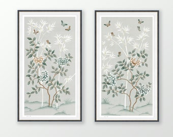 Pastel Chinoiserie wall art, Set of two art prints, peony and butterfly Japanese painting, Gifts for her