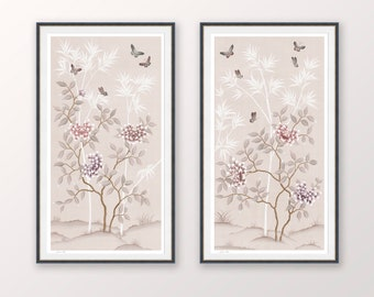Pastel Chinoiserie print, Flowers and butterflies modern wall art, Japanese style art, Set of two prints, Gifts for her