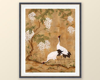 Chinoiserie wall art print, Japanese art of crane birds and wisteria, Gold leaf painting, Gifts for her, Gifts for him
