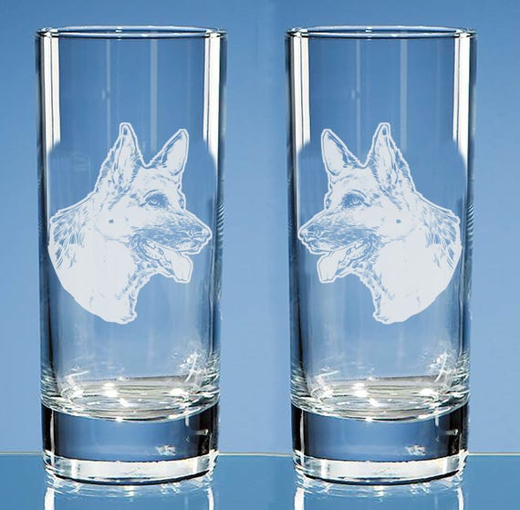 Can be Personalised German Shepherd Dog Gift Engraved Hiball Glass