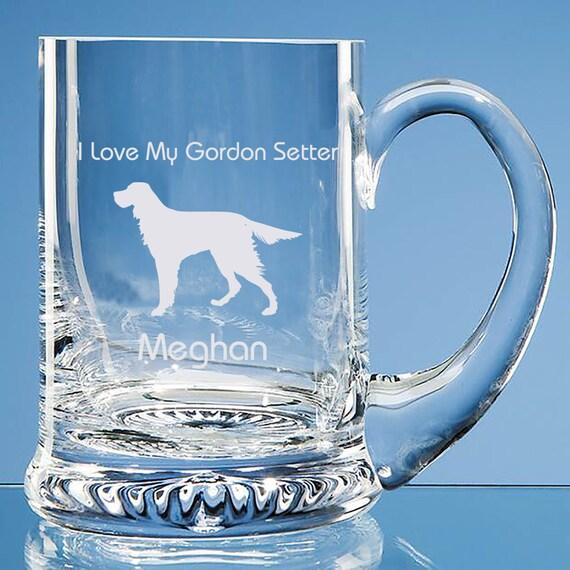 Gordon Setter chien amant cadeau personnalisé fait à la main en verre fin Tankard - ajouter un nom et Message - anniversaire cadeau, cadeau fête des pères, Noël