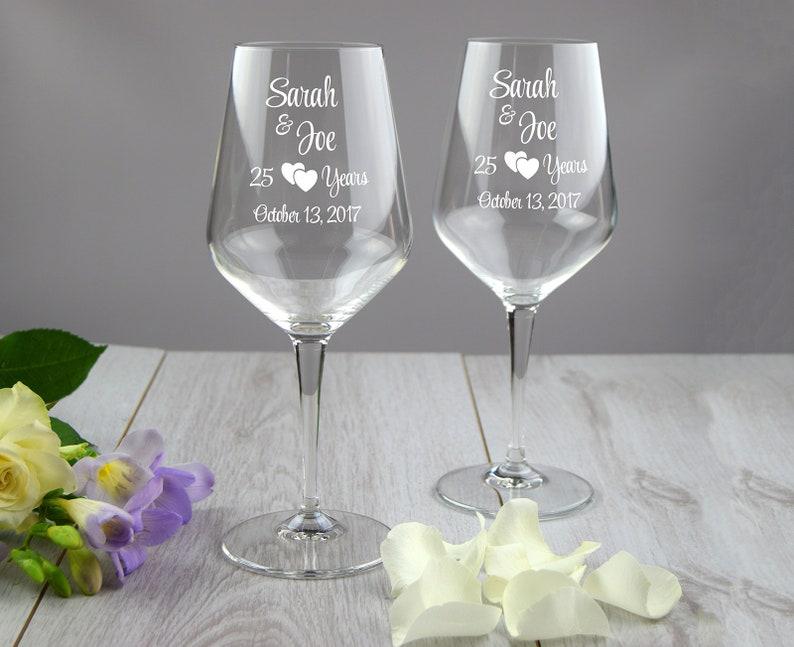 25 anniversario di bicchieri di vino set personalizzato di etsy
