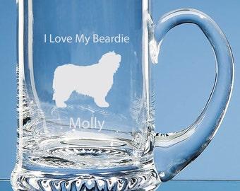 Bearded Collie Tankard, Personalised, Bearded Collie Dog, Collie Beer Tankard, Engraved Collie, Collie Gift, Collie Beer Glass, Collie Dog