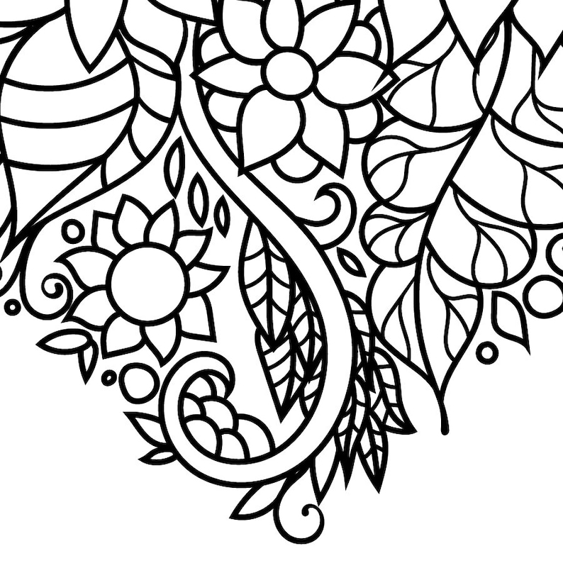 Zentangle inspired floral heart coloring page. Flowers | Etsy