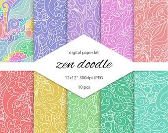 Oriental patterns digital scrapbooking. Zen doodle printable. Hippie background. Doodle background. Paisley background. Doodle art