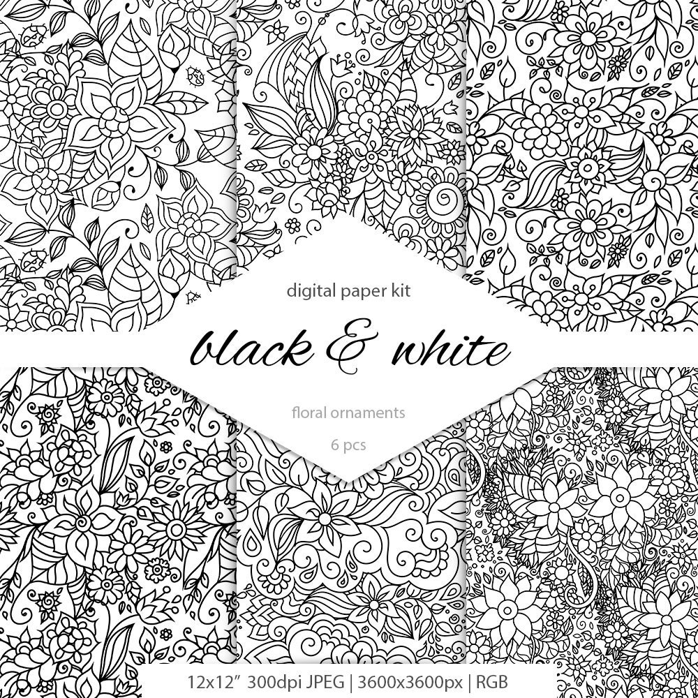 Black And White Floral Patterns Doodle Art Doodle Etsy