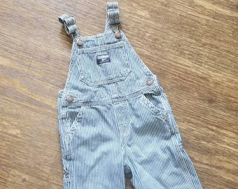 Child 24 mths overall bibs Engineer pin striped blue white unisex classics