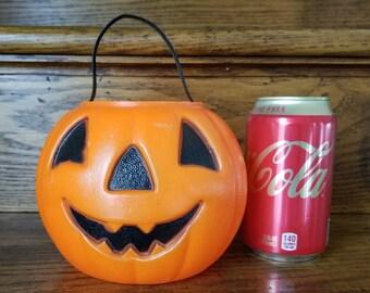 Vintage Blow Mold Jack O Lantern Pumpkin Halloween Treat Bucket