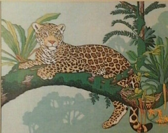 Noble Jaguar Crewel Embroidery Kit Dimensions #1253