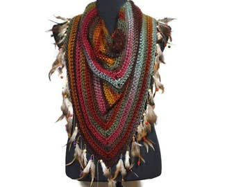 Yellow Pink Triangle Feather Scarf: Boho Scarf Shawl Kerchief Feather Fringe Trim Wrap Boho Scarf Fashion Festival Clothing Real Feather