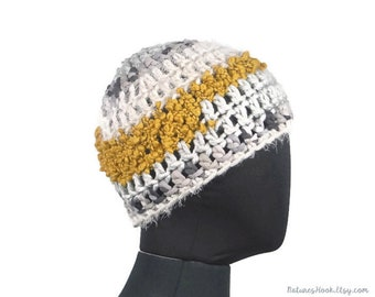 2aafcf1081a Yellow Gray White Simple Chunky Crochet Beanie  Unisex Beanie Ski Cozy Cap Men  Women Winter Warm Adult Skullcap One Size Fits Most Knit