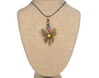 Brazil Metal Necklace: Brazil Brasil Boho Necklace Jewelry Metal Necklace Woodlands Hippie Bohemian Acai Bead
