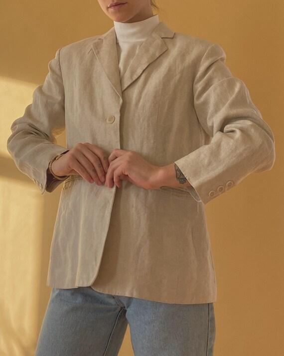 Irish Linen Beige Coat / Medium Linen Blazer