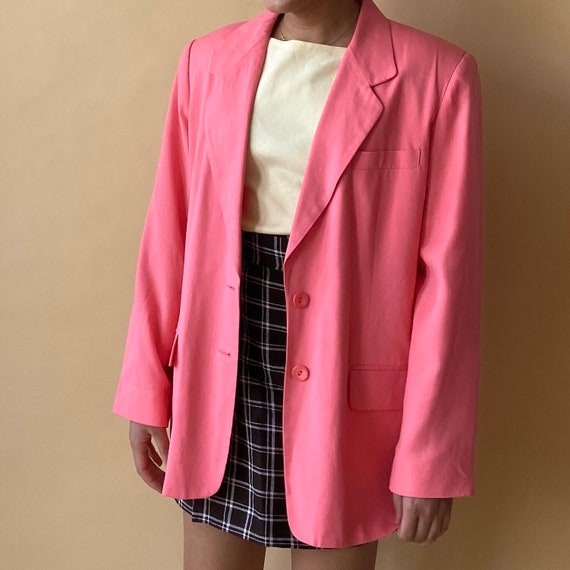 Hot Pink Linen Blazer   Oversized Boxy Blazer