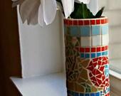 Mosaic Bird, Farmhouse Decor, Stained Glass Mosaic, Colorful Glass Vase, Mosaic Vase, Bud Vase, Tile Vase, Mosaic Art, Glass Mosaic, Vase
