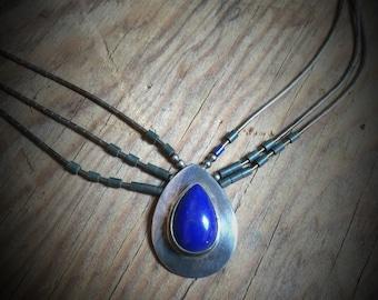 Vintage Blue Multistrand Necklace