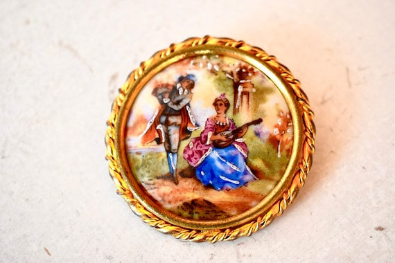 Antique France Limoges Porcelain Brooch Antique Je