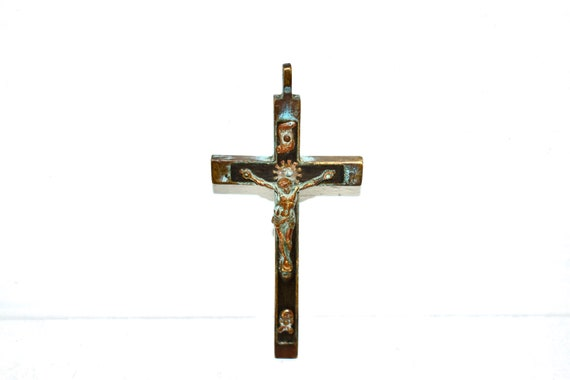 Antique jesus Hristis Bronze Cross Old coper cross