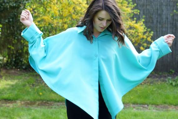Vintage loose jacket, mint cape, vintage cape, loo