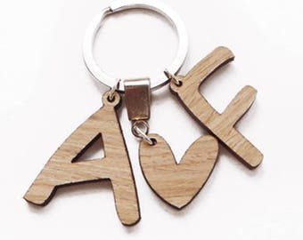 Custom Keychain, Personalized Keychain, Letter Keychain, Couple Keychains, Anniversary Gift, Hubby Gift, Gifts for Him, Wood Keychain