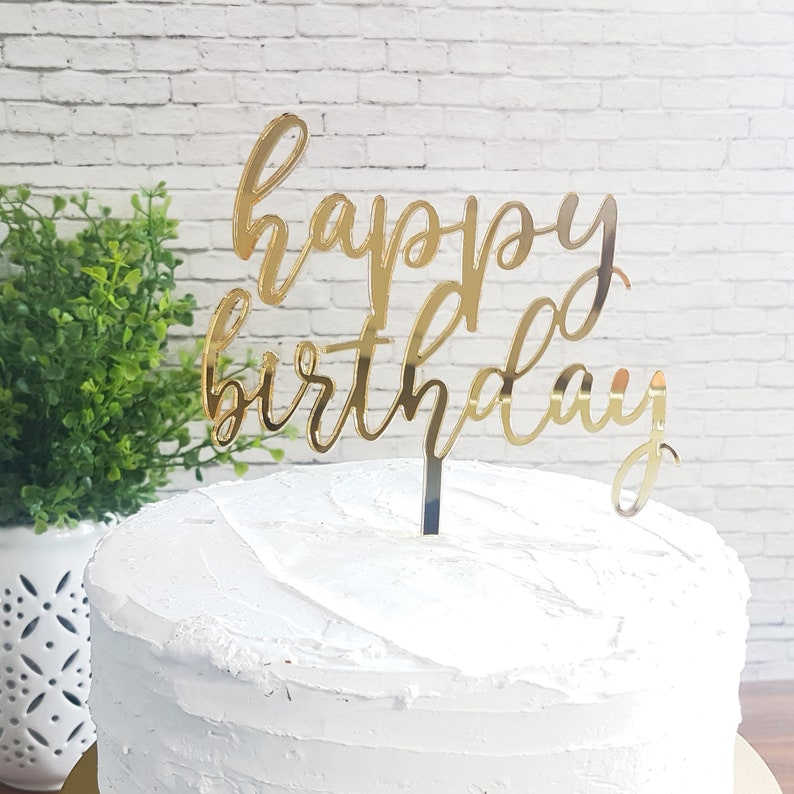 Happy Birthday Cake Topper Sign Decor Party