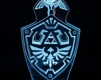 Hylian Shield with Master Sword Zelda LED Light Display
