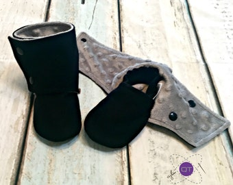 Black Wool Stay on Booties // Crib Shoes // Gender Neutral // Baby booties // Baby Boy // Baby Girl // Soft Sole Shoes // Toddler Shoes