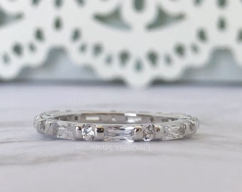 4f1bdd8d7cd Thin Baguette Diamond Band Sterling Silver Emerald Wedding Band Eternity Band  Stacking Baguette Band Simulated Diamond Band Minimalist Band