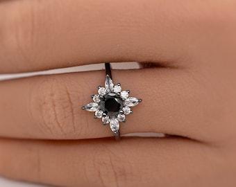 Art Deco Black Diamond Engagement Ring, Art Deco Black Ring, Black Filigree Ring, Starburst Statement Black Rhodium Ring