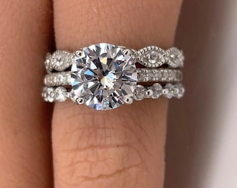 2.00ct Art Deco Engagement Ring Set, 3 Ring Solitaire Ring Twisted Band Set, Solitaire Art Deco Engagement Set Braided Eternity Band