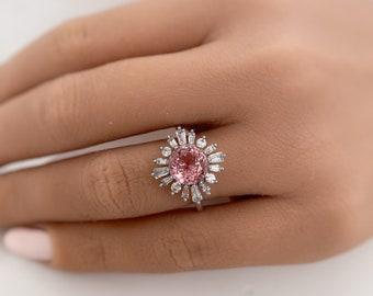 2.00ct Pink Tourmaline Engagement Ring, 14k Real Gold Vintage Engagement Ring, Art Deco, Floral Engagement Ring, Statement Ring, Moissanite