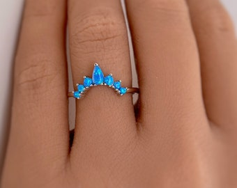 Curved Blue Opal Band, Fitted Blue Opal Ring, Pear Blue Opal Ring, Sterling Silver with Vermeil