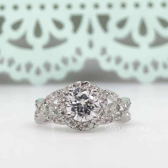 1.95 ct Round Diamond Engagement Ring Sterling Silver Solitaire Ring