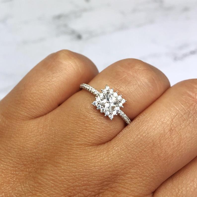 Princess Halo Diamond Engagement Ring Princess Diamond Halo Square Engagement Ring Wedding Ring Princess Engagement Ring