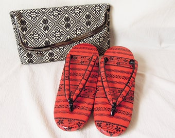 Vintage Japanese Kimono Bag & Zōri Sandals Set