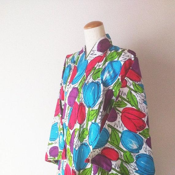 Vintage Japanese Yukata / Tulip / Cotton Dressing