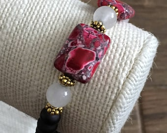 Heather: Shades of Pink rectangles and black beads with white & gold accents