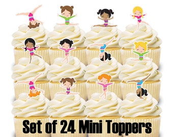 24 Mini Cupcake Toppers GYMNASTICS Birthday Party Decorations Baby Shower Cake