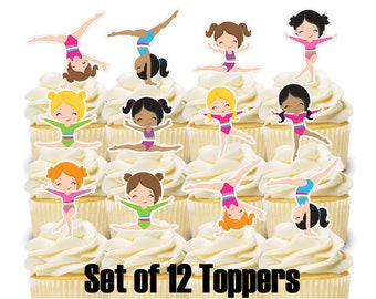 12 Cupcake Toppers GYMNASTICS Theme Birthday Party Decorations Baby Shower Cake