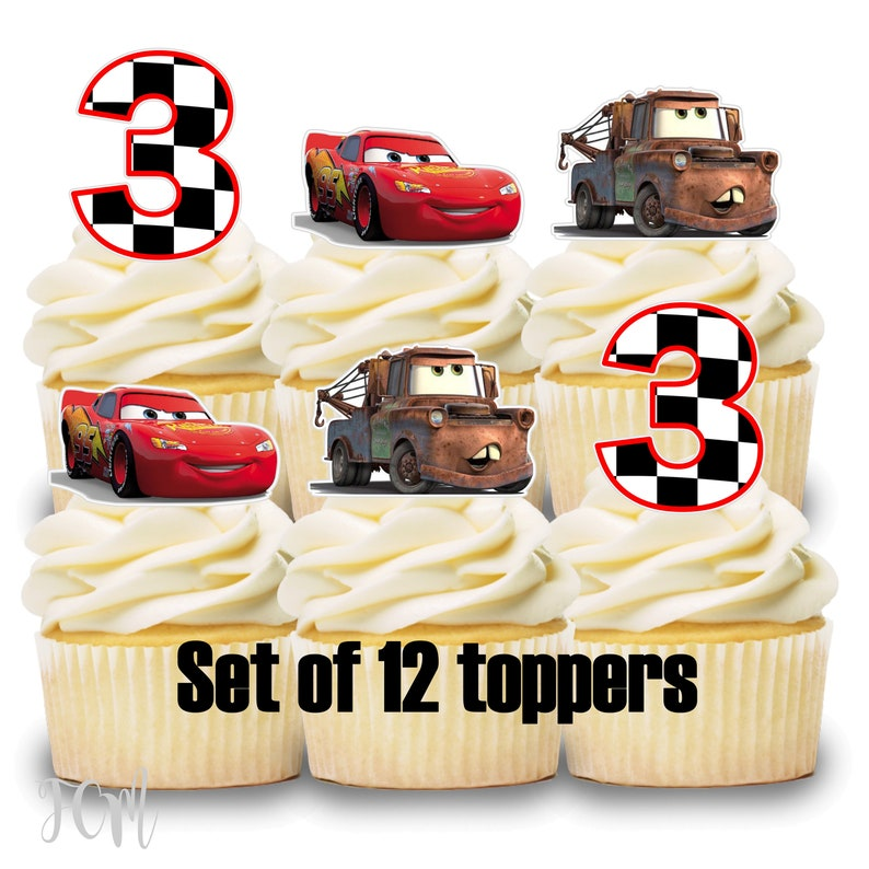 12 Cupcake Toppers Cars Lightning Mcqueen Theme Birthday Party Etsy