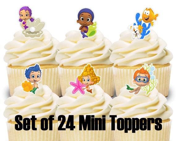 Sensational 24 Mini Cupcake Toppers Bubble Guppies Birthday Party Cake Etsy Personalised Birthday Cards Veneteletsinfo