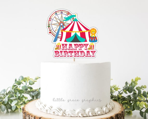 Enjoyable Printable Circus Carnival Birthday Cake Topper Instant Etsy Personalised Birthday Cards Bromeletsinfo