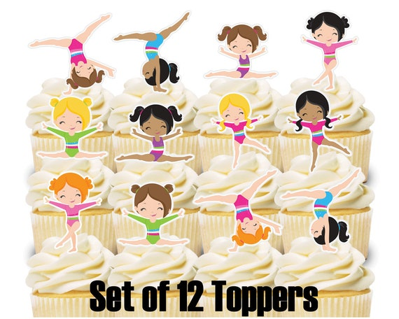 12 Cupcake Toppers GYMNASTICS Theme Birthday Party
