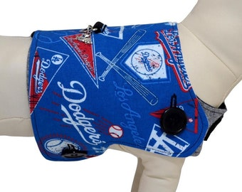 MLB Los Angeles Dodgers Major League Baseball Logo & Pennant LA Blue Crew Fans Interchangeable Reversible Pet Dog Cover for PAWZLY Harnesses