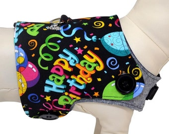 Happy Birthday Celebration Streamers, Cupcakes, and Balloons, Festive Party Interchangeable Reversible Pet Dog Cover for PAWZLY Harnesses