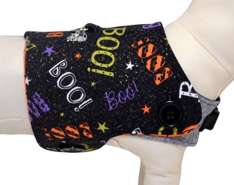 Halloween BOO! Frightful Starry Night w/ Creepy Scary Dancing Skeletons Interchangeable Reversible Pet Dog Vest for PAWZLY Harnesses