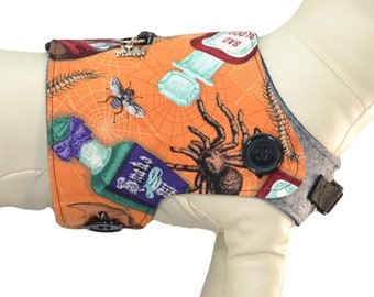 Tarantula & Poisons Dog Harness * Bats, Insects, Tonic, Potions * Halloween Interchangeable Reversible Pet Dog Cover for PAWZLY Harnesses